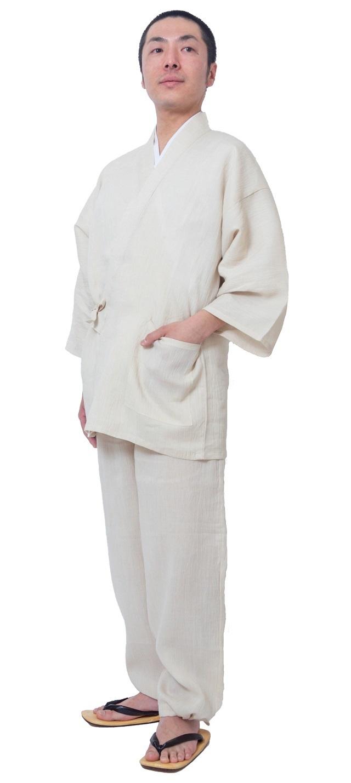 本麻楊柳作務衣 日本製 最高級 ベージュ 夏用