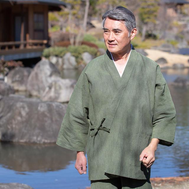 アイスコットン近江ちぢみ作務衣 No.3 グリーン