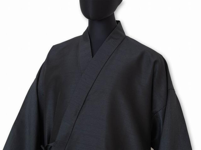 シルクライク紬作務衣