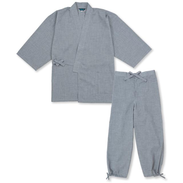 テト麻筒袖作務衣 No.2 グレー
