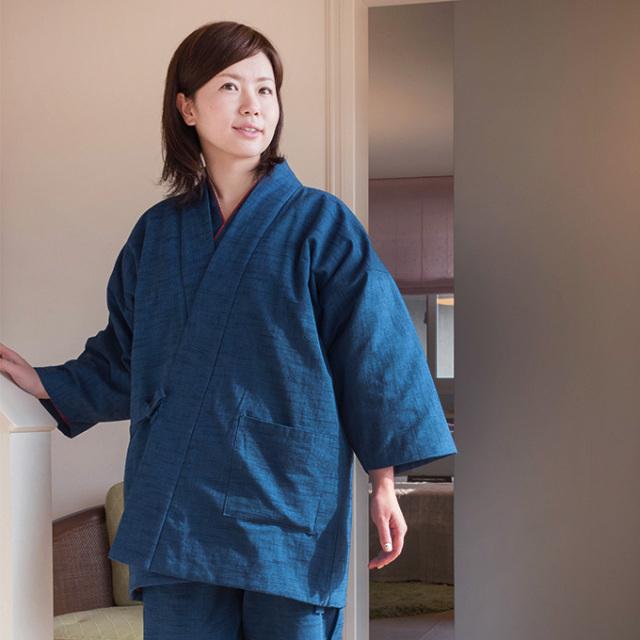 女性紬織作務衣式綿入れキルト袢天 No.2 ブルー