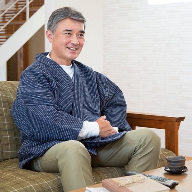 刺子織 作務衣式綿入れ袢天 No.1 濃紺