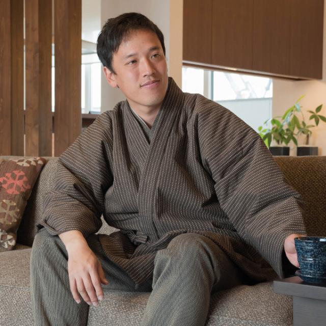 刺子織 作務衣式綿入れ袢天 No.3 茶