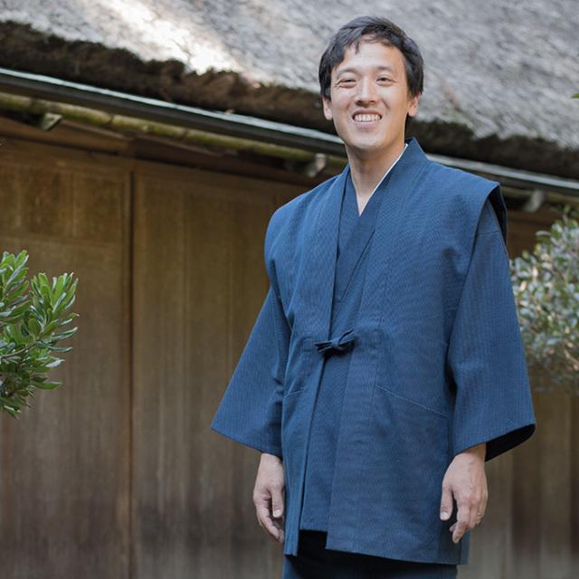 小柄ドビー刺子羽織 1番色 濃紺