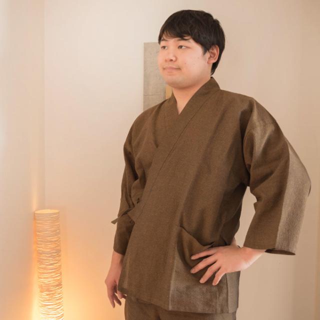 和紙しじら織作務衣 No.5 茶