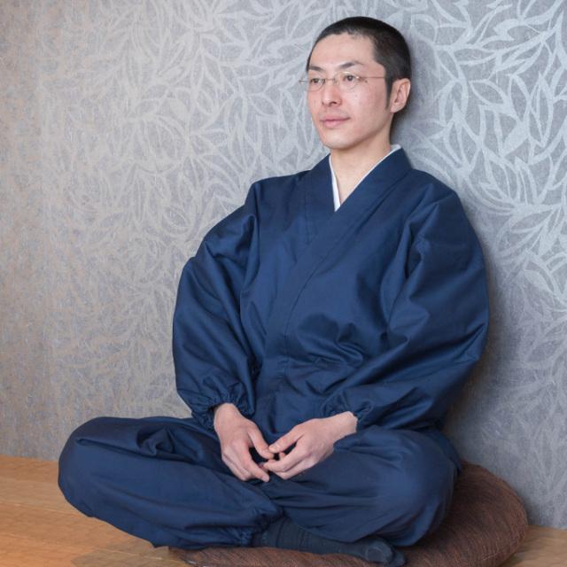 綾織キルト作務衣 1番色 濃紺
