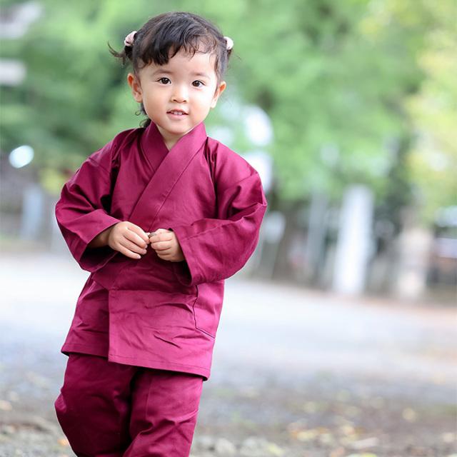 子供用綾織作務衣 16番色 エンジ