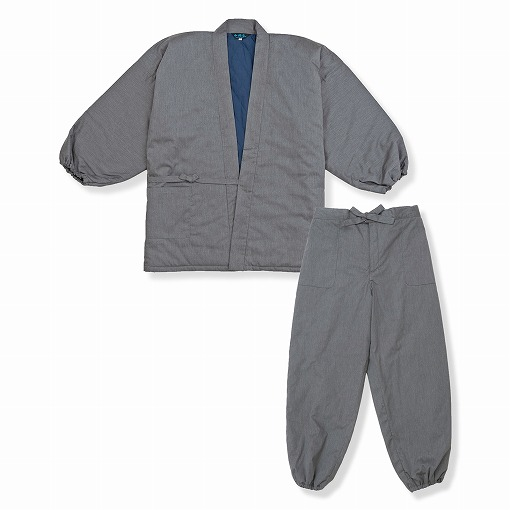 T/Cバーバリー織綿入作務衣 No.5 杢グレー