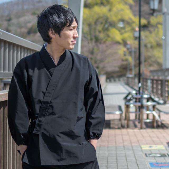 袖・裾ゴム式  撥水高機能作務衣 No.3 黒