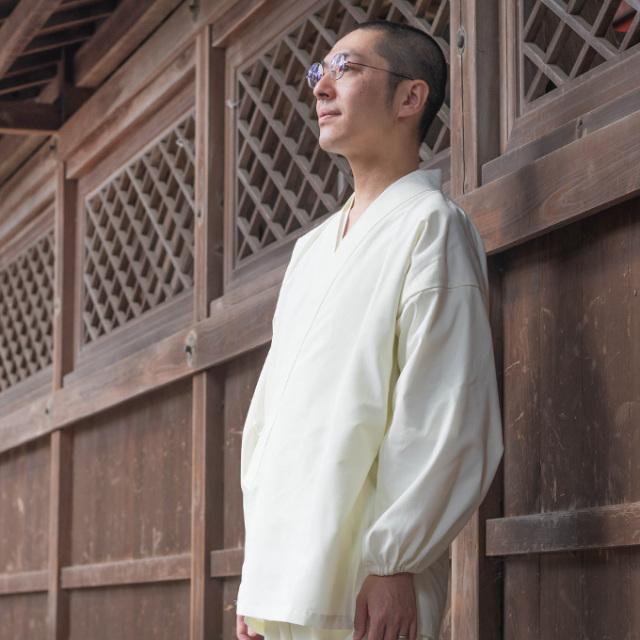 袖・裾ゴム式  撥水高機能作務衣 No.4 白