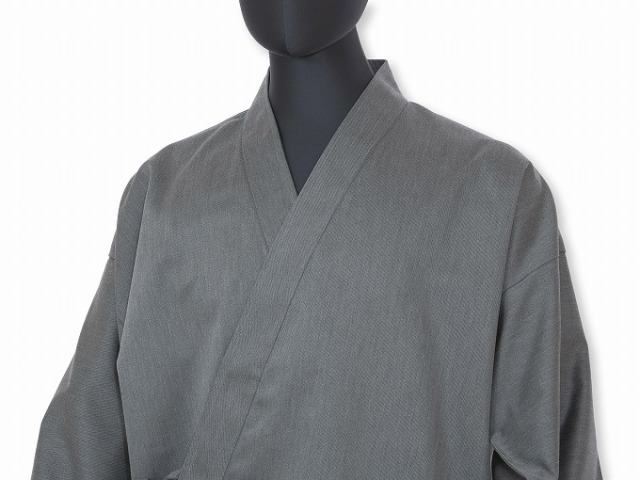 裾・袖ゴム式T/C綾織作務衣 No.5 杢グレー
