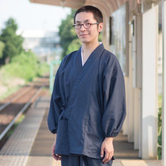 袖・裾ゴム式テト麻作務衣 No.1 濃紺