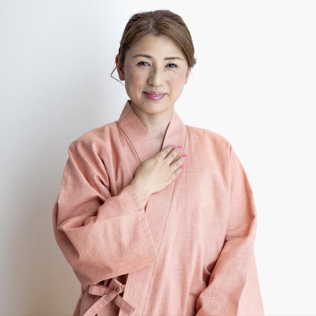 絣紬作務衣 No.13 ピンク