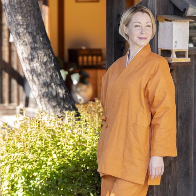 絣紬作務衣 No.16 オレンジ