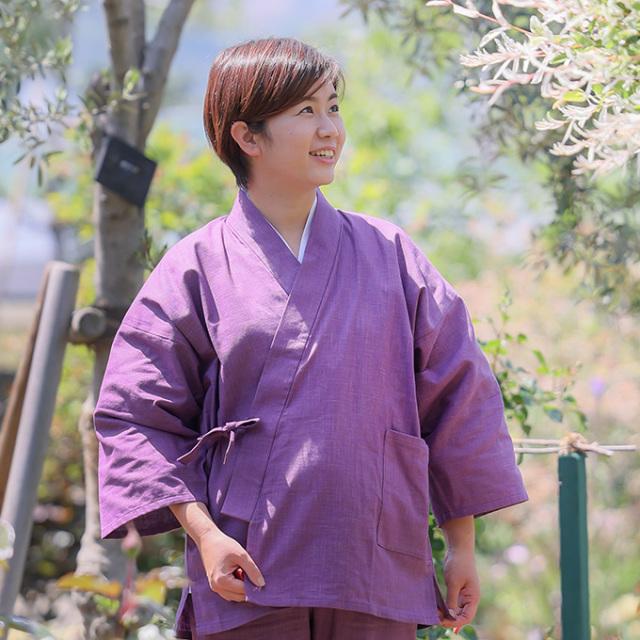 絣紬作務衣 No.17 古代紫