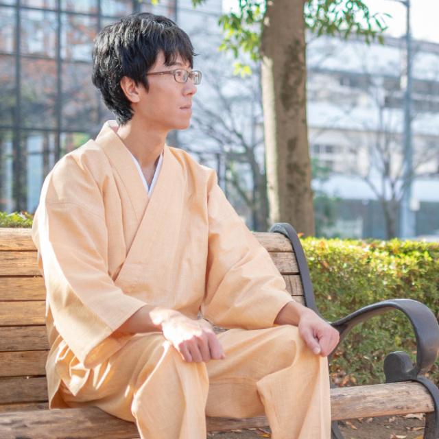 絣紬作務衣 No.2 茶