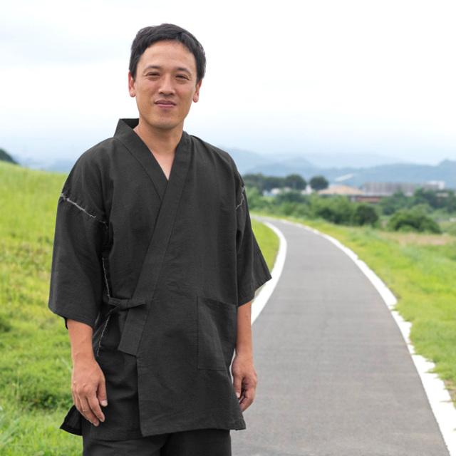 和紙しじら織甚平 No.2 黒