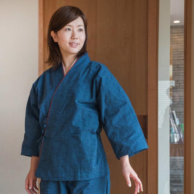 女性綿紬パンツルック作務衣 No.224 ブルー