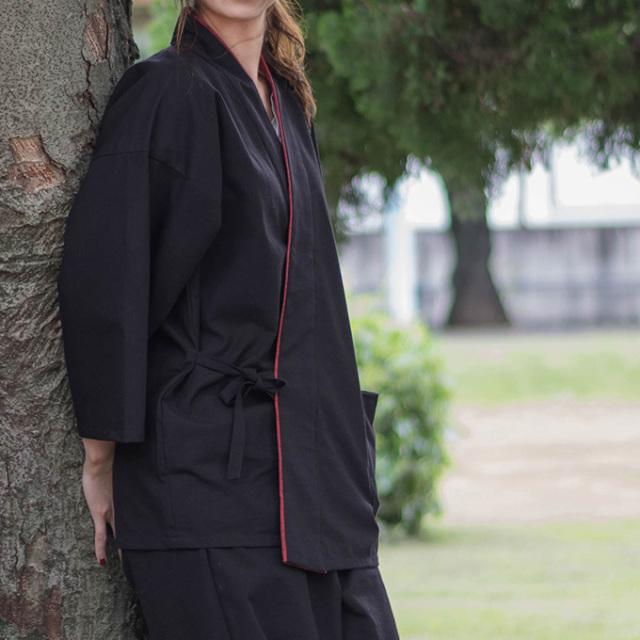 女性綿紬パンツルック作務衣 No.228 黒
