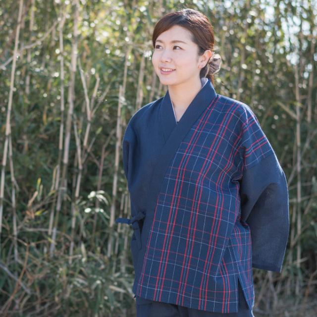 阿波しじら織女性デザイン作務衣 No.2