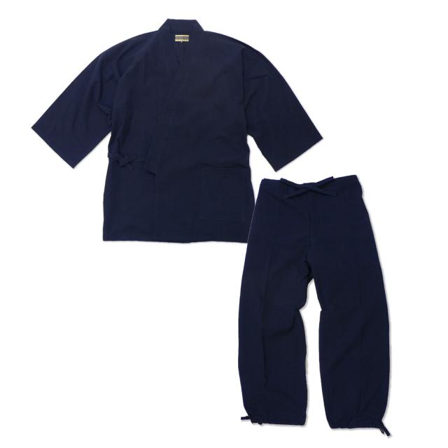たてスラブ作務衣 No.1 濃紺