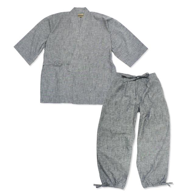たてスラブ作務衣 No.4 グレー