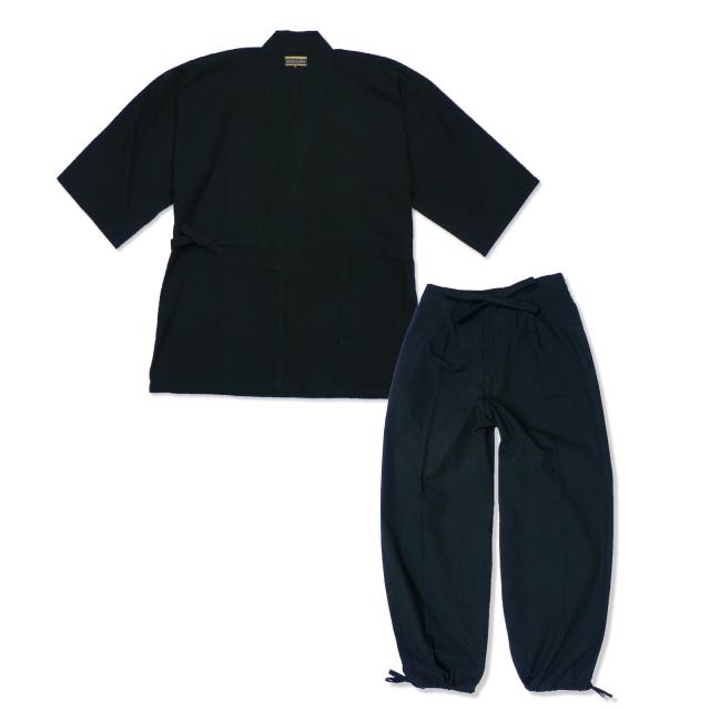 たてスラブ作務衣 No.7 黒