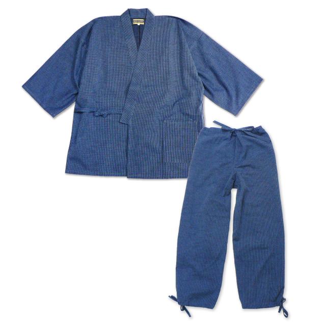 大柄ドビー刺子作務衣  No.12 ブルー