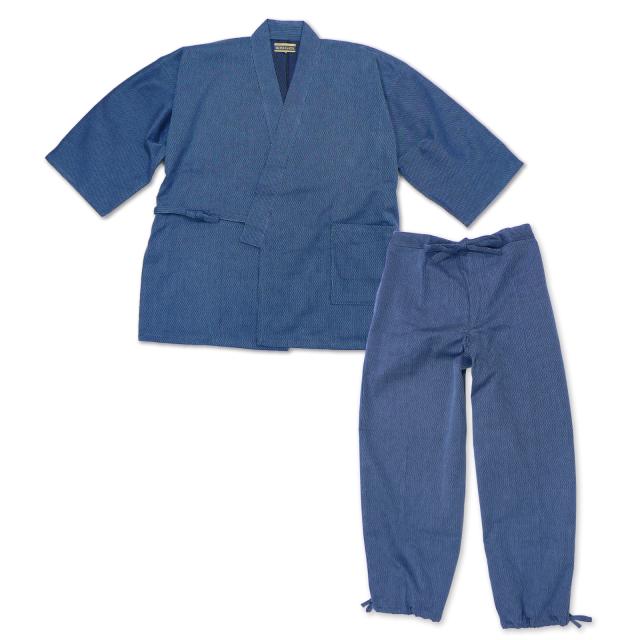 小柄ドビー刺子作務衣 No.16 ブルー
