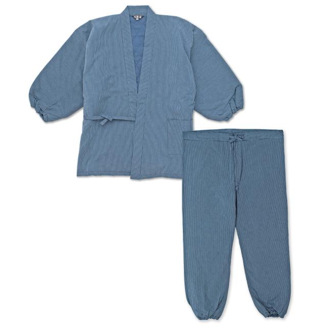 キルト縞柄作務衣 濃紺