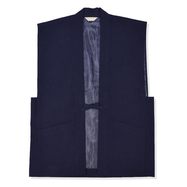 手紡ぎ風・遠州織地厚生地羽織  No.1 濃紺