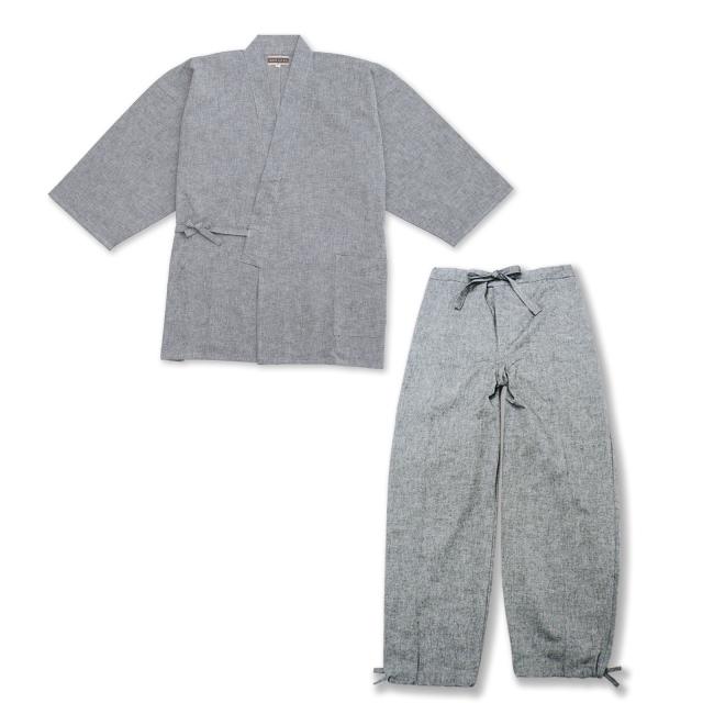 手紡ぎ風・遠州織地厚生地作務衣 No.63 グレー