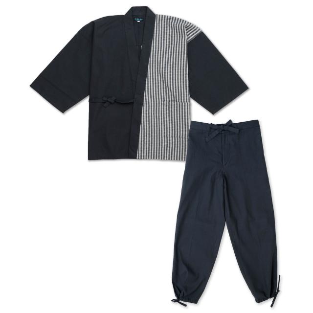 綿しじらデザイン作務衣 1番 黒×白