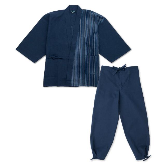 綿しじらデザイン作務衣 4番 紺×紺ブルー