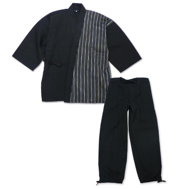 綿麻楊柳デザイン作務衣  No.3 黒