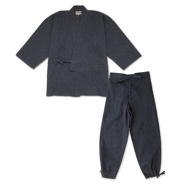 近江ちぢみ絣織作務衣 No.1 濃紺