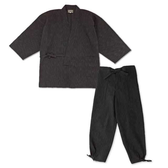 近江ちぢみ絣織作務衣  No.2 黒