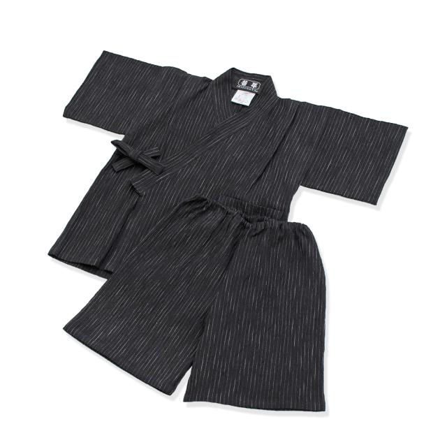 子供用近江ちぢみ絣織甚平 No.2 黒