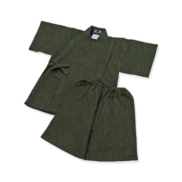 子供用近江ちぢみ絣織甚平 No.3 グリーン