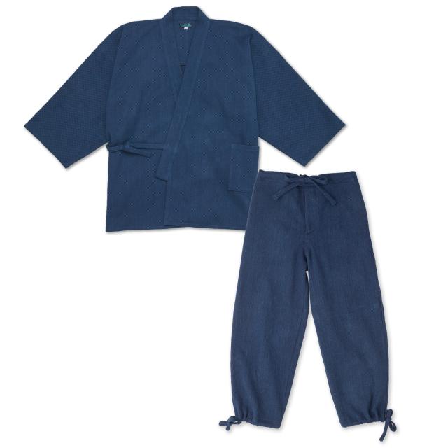 本藍染刺子織作務衣 No.1 濃紺
