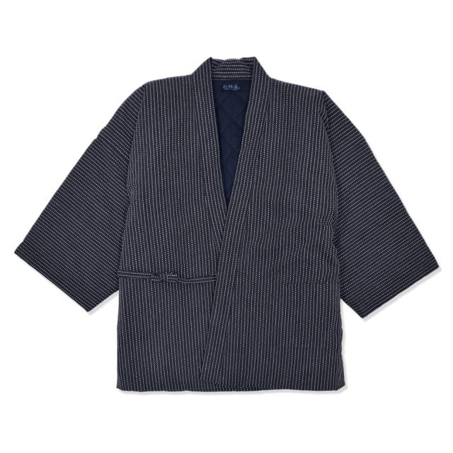 刺子織 作務衣式綿入れ袢天 No.2 黒