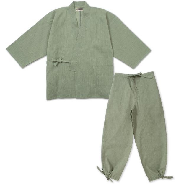 綿麻しじら作務衣 No.206 グリーン