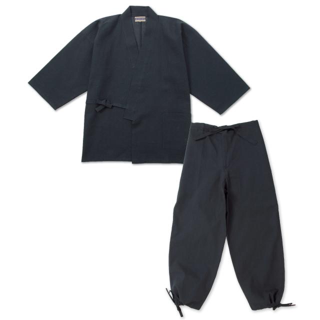 綿麻しじら作務衣 No.209 黒