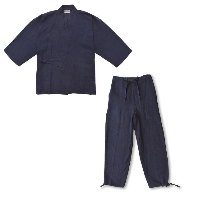 麻綿藍染作務衣 No.1 濃紺