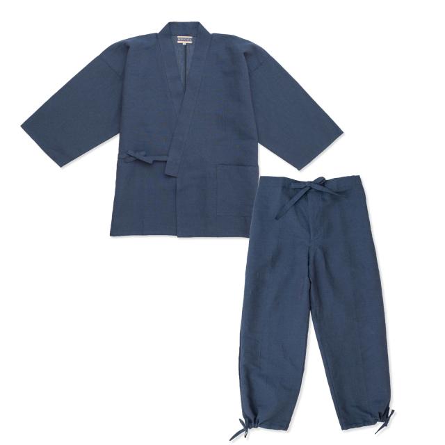 和紙しじら織作務衣 No.1 濃紺