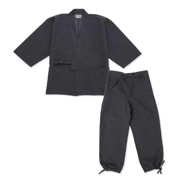 和紙しじら織作務衣 No.2 黒