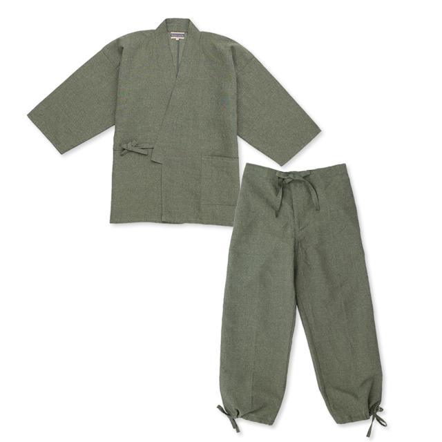 和紙しじら織作務衣 No.3 グリーン