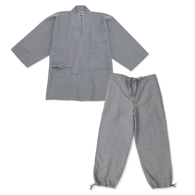 和紙しじら織作務衣 No.4 グレー