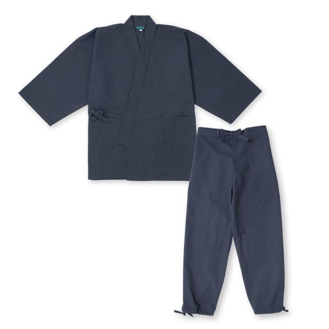 綿紬作務衣 No.1 濃紺