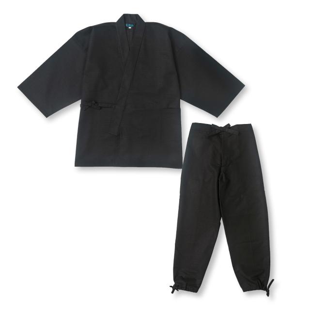 綿紬作務衣 No.3 黒